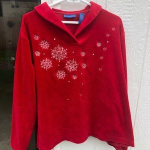 Karen Scott 3X red velvet embellished top